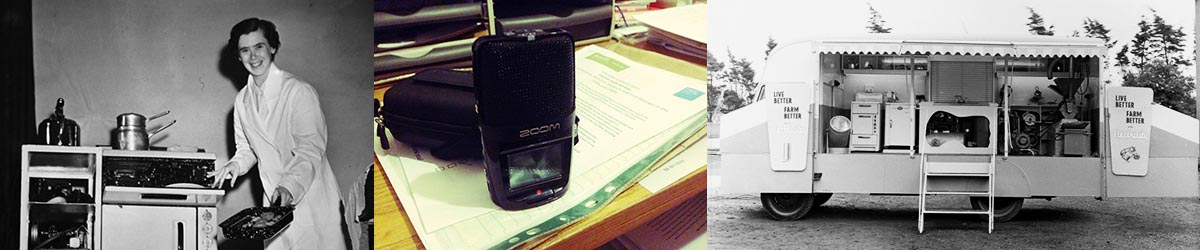 ESB demonstrator (Courtesy of ESB Archives): Audio recorder and notes: ESB mobile demonstration van (Courtesy of ESB Archives)